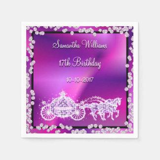 Purple Princess Coach & Horses 17th Birthday Paper Serviettes