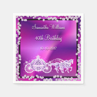 Purple Princess Coach & Horses 40th Birthday Disposable Napkins