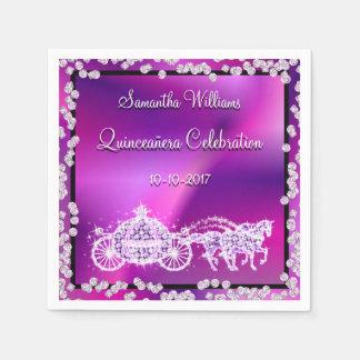 Purple Princess Coach & Horses Quinceañera Disposable Serviette