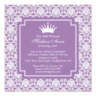 Purple Princess Crown Birthday Party Invitation