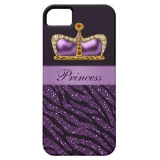 Purple Princess Crown Faux Glitter Zebra Print iPhone 5 Cover