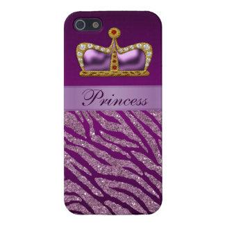 Purple Princess Crown Faux Glitter Zebra Print Case For The iPhone 5
