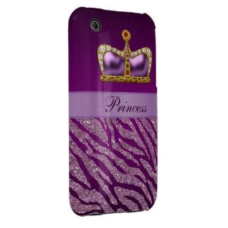 Purple Princess Crown Faux Glitter Zebra Print Case-Mate iPhone 3 Cases