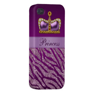 Purple Princess Crown Faux Glitter Zebra Print Covers For iPhone 4