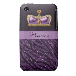 Purple Princess Crown Faux Glitter Zebra Print iPhone 3 Case-Mate Cases