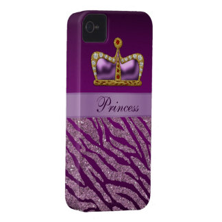 Purple Princess Crown Faux Glitter Zebra Print iPhone 4 Case-Mate Cases