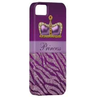 Purple Princess Crown Faux Glitter Zebra Print iPhone 5 Covers