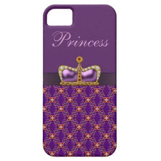 Purple Princess Faux Diamonds & Ruby Crown iPhone 5 Cases