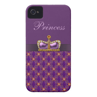 Purple Princess Faux Diamonds & Ruby Crown iPhone 4 Cover