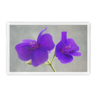 Purple Princess Flowers Floral Acrylic Tray