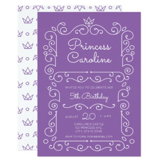 Purple Princess Scroll Birthday Invitation