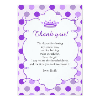 Purple Princess Thank You Card Note 13 Cm X 18 Cm Invitation Card
