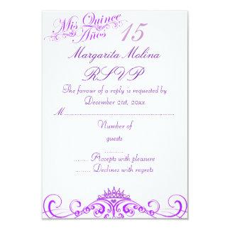 Purple Princess Tiara Quinceanera RSVP 9 Cm X 13 Cm Invitation Card