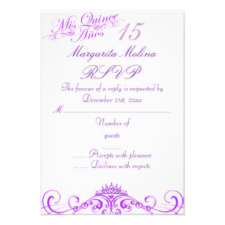 Purple Princess Tiara Quinceanera RSVP Personalized Invitation