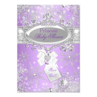 Purple Princess Winter Girl Baby Shower 13 Cm X 18 Cm Invitation Card