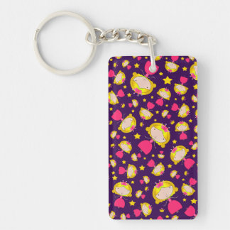 Purple princesses and stars rectangular acrylic keychains