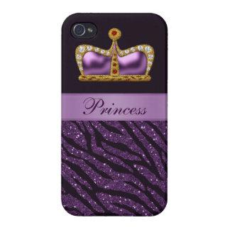 Purple Printed Princess Crown &  Zebra Glitter iPhone 4/4S Cases