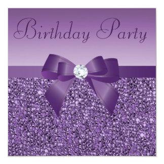 Purple Printed Sequins Bow & Diamond Birthday 13 Cm X 13 Cm Square Invitation Card