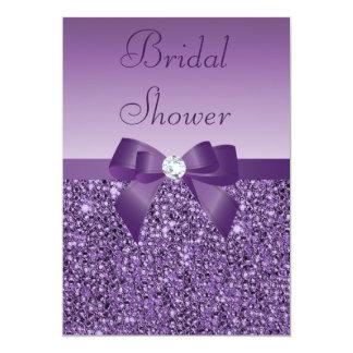 Purple Printed Sequins Bow & Diamond Bridal Shower 13 Cm X 18 Cm Invitation Card