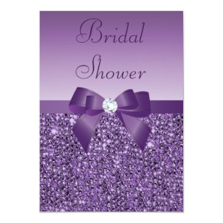 Purple Printed Sequins Bow & Diamond Bridal Shower Card