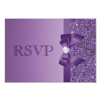 Purple Printed Sequins, Bow & Diamond RSVP Wedding 9 Cm X 13 Cm Invitation Card