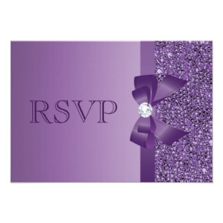 Purple Printed Sequins Bow Diamond RSVP Wedding Custom Invitations