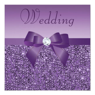 Purple Printed Sequins Bow & Diamond Wedding 13 Cm X 13 Cm Square Invitation Card