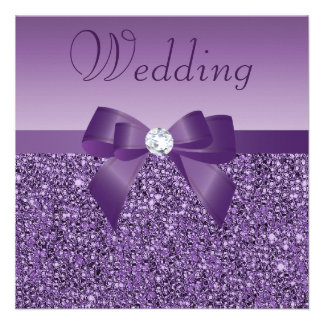 Purple Printed Sequins Bow Diamond Wedding Custom Invite