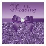 Purple Printed Sequins Bow Diamond Wedding Custom Invite