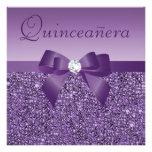 Purple Printed Sequins & Bow Quinceanera Custom Invites