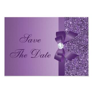 Purple Printed Sequins Wedding Save the Date 9 Cm X 13 Cm Invitation Card