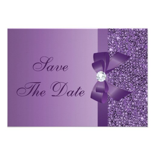 Purple Printed Sequins Wedding Save the Date Invitation