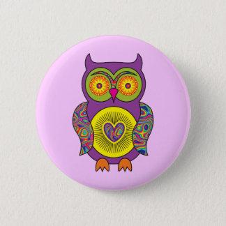 Purple Psychedelic Owl 6 Cm Round Badge