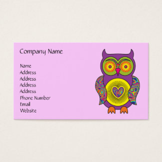 Purple Psychedelic Owl Business Card