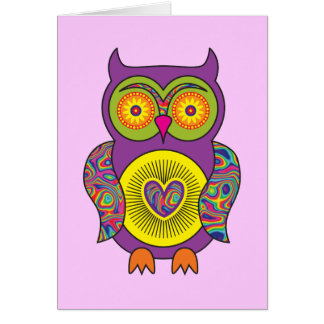 Purple Psychedelic Owl Card