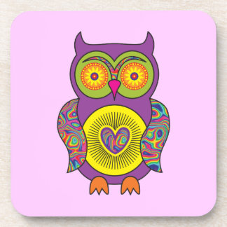 Purple Psychedelic Owl Coaster