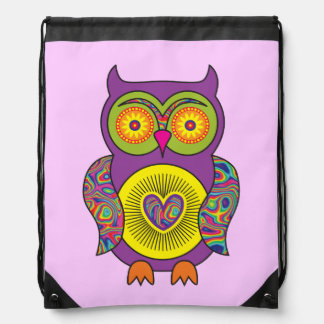 Purple Psychedelic Owl Drawstring Bag