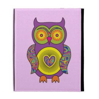 Purple Psychedelic Owl iPad Folio Cases