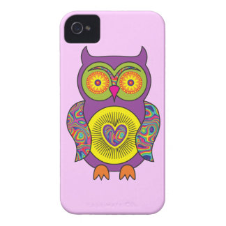Purple Psychedelic Owl iPhone 4 Case-Mate Cases
