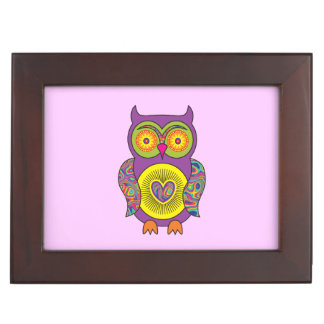 Purple Psychedelic Owl Keepsake Box