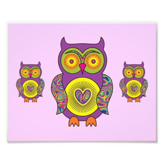 Purple Psychedelic Owl Photo Print