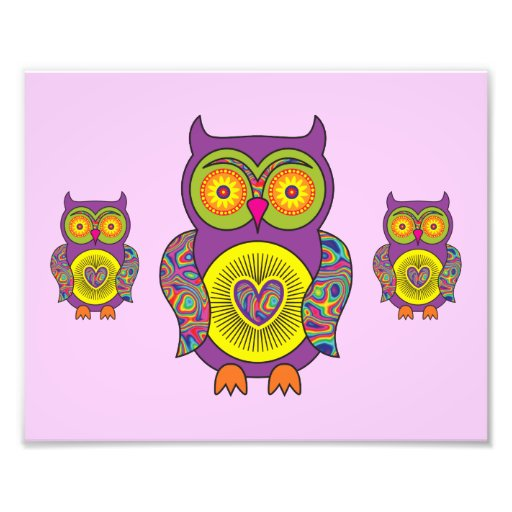 Purple Psychedelic Owl Photographic Print