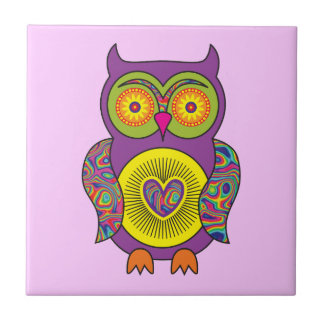 Purple Psychedelic Owl Tile