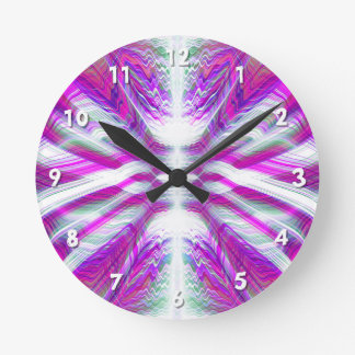 Purple psychedelic pattern round clock