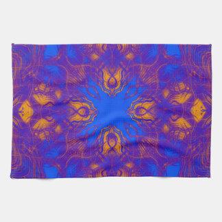 Purple psychedelic pattern tea towel