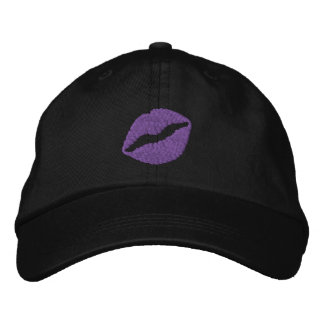 Purple Puckered Lips Black Embroidered Hat