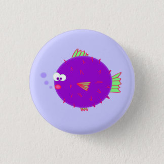 Purple Puffer Fish 3 Cm Round Badge