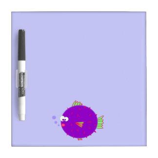 Purple Puffer Fish Dry Erase Board