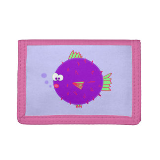 Purple Puffer Fish Trifold Wallet
