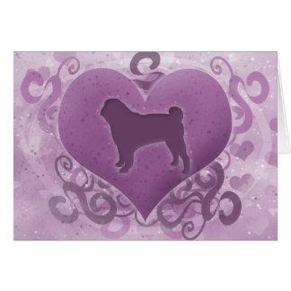 Purple Pug Valentine's Day Card